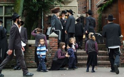 Hassidic Jews in Brooklyn, New York (photo credit: Mendy Hechtman/Flash90)