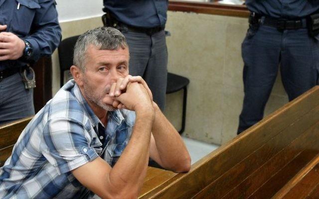 Eidan Damirhan, citoyen turc jugé coupable de meurtre, au tribunal de Tel Aviv. (Crédit : Yossi Zeliger/Flash90)