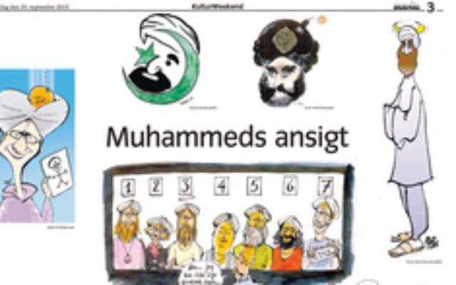 Les première caricatures de Mahomet, publiées dans le journal danois Jyllands-Posten, en 2005. (Crédit : Wikimedia Fair Use Image)