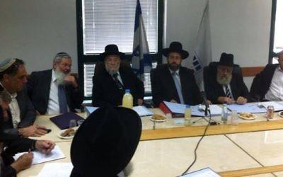 Une réunion du conseil du grand rabbinat, en 2013. (Crédits : Facebook)