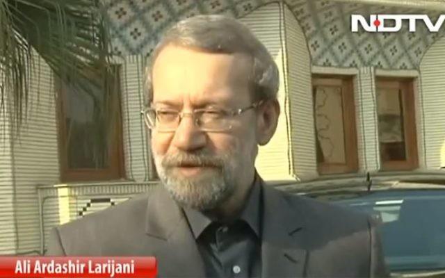 Ali Larijani, président du parlement iranien. (Crédit : capture d'écran Youtube/NDTV)