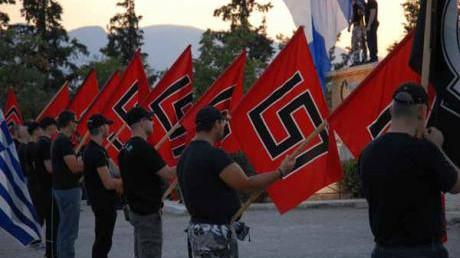 Partisans du parti Golden Dawn en Grèce. (Crédit : @johanknorberg via Twitter/File)