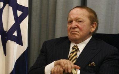 Le milliardaire juif américain Sheldon Adelson, donateur important du parti républicain et soutien du Premier ministre Benjamin Netanyahu. (Crédit : Flash90)