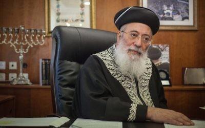 Le rabbin Shlomo Ammar en janvier 2013 (Crédit : Uri Lenz/Flash90)