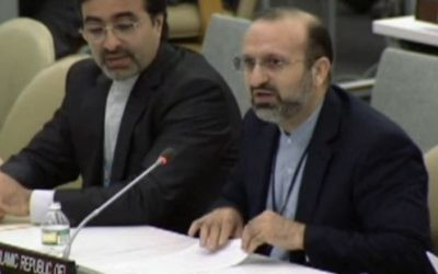 Khodadad Seifi, l'ambassadeur-adjoint iranien à l'ONU à l'Assemblée générale de l'ONU le 1er octobre 2013 (Crédit : capture d'écran UN webcast)