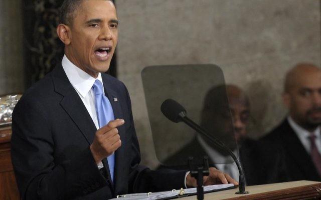 Le président américain Barack Obama lors de son discours sur l'état de l'Union, le 28 janvier 2014 au Capitole, à Washington (Crédit : AFP/Saul Loeb)