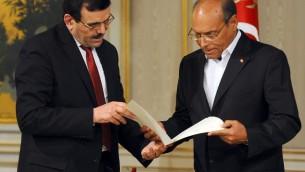 Ali Larayedh présente sa démision de Premier ministre au président Moncef Marzouki - 9 janvier 2014 - Carthage (Crédit : AFP/Archives Fethi Belaid)