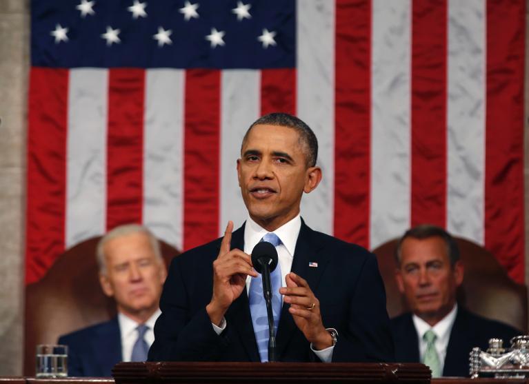 Barack Obama lors de son discours sur l'état de l'Union, le 28 janvier 2014 au Capitole, à Washington  (Crédit : Pool/AFP Larry Downing)