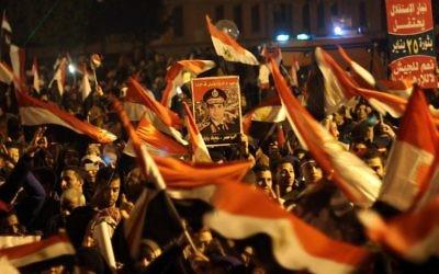 Des manifestants en faveur du général al-Sissi rassemblés sur la place Tahrir au Caire, le 25 janvier 2014 (Crédit AFP/Ahmed Taranh)