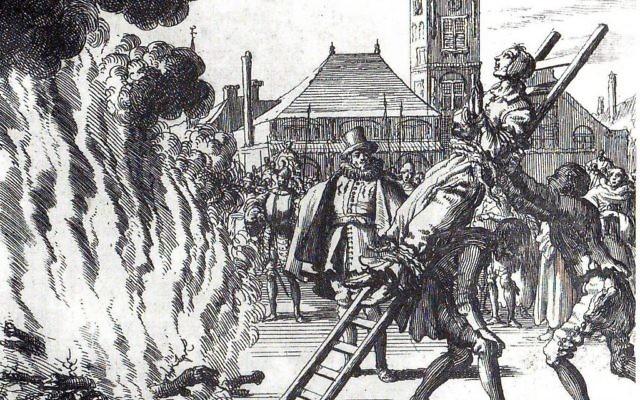 Exécution d'Anne Hendricks à Amsterdam, 1571. Gravure du XVIe siècle. (Crédit : Jan Luyken, domaine public)