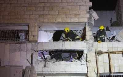 Explosion de gaz à Gilo, Jérusalem, dans la nuit du 19 au 20 janvier janvier 2014 (Crédit ; Yonathan Sindel/Flash 90)