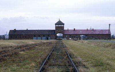 Les rails de chemin de fer qui mènent au camp d'extermination d'Auschwitz-Birkenau, en Pologne. Illustration. (Crédit : Serge Attal/Flash90)