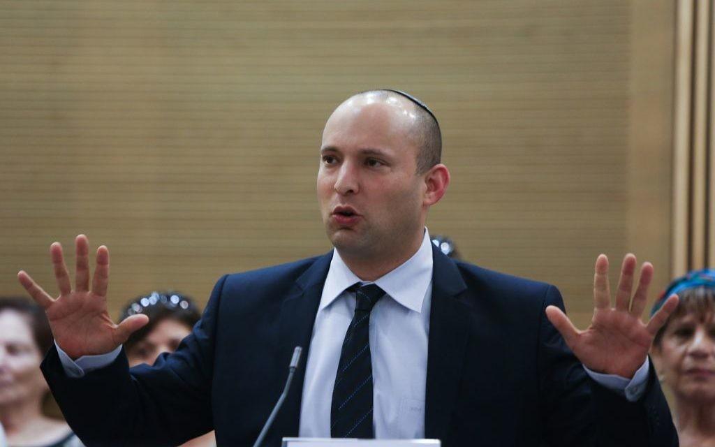 Le dirigeant du parti HaBayit HaYehudi, Naftali Bennett (Crédit : Yonatan Sindel/Flash90).