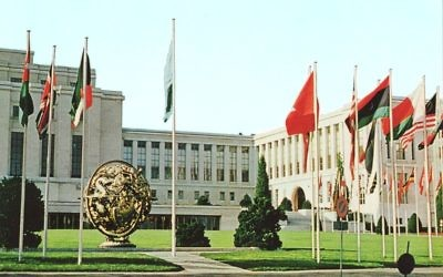 Palais des Nations à Genève, Suisse. (Crédit : Wikimedia Commons/CC BY MadGeographer)