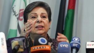 Hanan Ashrawi, membre de l'OLP (Crédit : Issam Rimawi/Flash90)