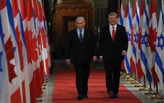 Le Premier ministre israélien Benjamin Netanyahu et le Premier ministre Stephen Harper à Ottawa, Canada. 2 mars 2012 (Crédit : Amos Ben Gershom/GPO/ Flash90)