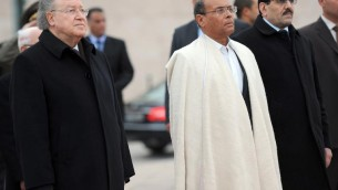 Le président de l'Assemblée Mustapha Ben Jaafar, le président de la République Moncef Marzouki et l'ancien Premier minsitre Ali Larayedh - 14 janvier 2014 - Tunis (Crédit : AFP/Archives Fethi Belaid)