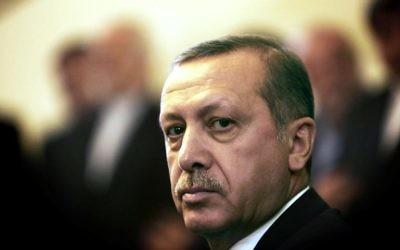 Le Premier ministre turc Recep Tayyip Erdogan le 29 janvier 2014 à Téhéran (Crédit : AFP/Behrouz Mehri)