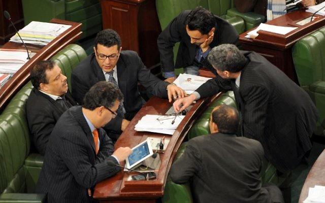Les députés de l'Assemblée constituante - 22 janvier 2014 - Tunis (Crédit : AFP/Archives Fethi Belaid)