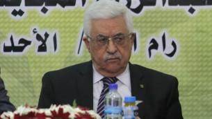 Mahmoud Abbas, président de l'Autorité palestinienne au meeting du Fatah à Ramallah, 1er septembre 2013 (Crédit : Issam Rimawi/Flash90)