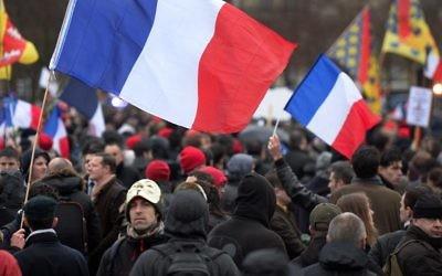 Manifestants lors de la journée anti-Hollande - Paris - 26 janvier 2014 (Crédit : AFP/Pierre Andrieu)