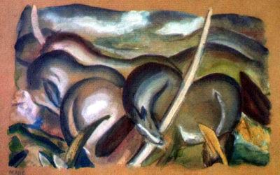 """Marc Franz, Pferde in Landschaft (""""Chevaux dans un paysage"""") , 1911.  Un des tableaux découverts dans la collection de Munich. (Crédit :  domaine publique)"""