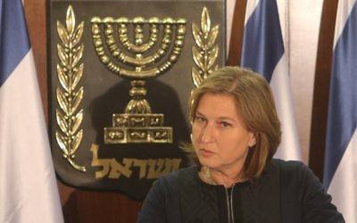Tzipi Livni, présidente de Hatnua (Crédit : Flash90)