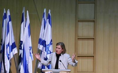 Tzipi Livni, s'adressant à la Knesset, en mars 2012 (Crédit : Flash 90)