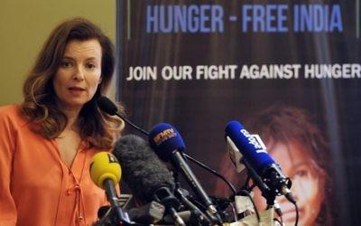 Valerie Trierweiler lors d'une conférence de presse à Bombay, en Inde, le 27 janvier 2014. (Crédit : Indranil Mukherjee/AFP)