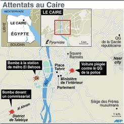 Infographie localisant les attentats à la bombe au Caire dans la matinée du 24 janvier 2014 (Crédit : AFP P.Pizarro/V.Lefai, VL)