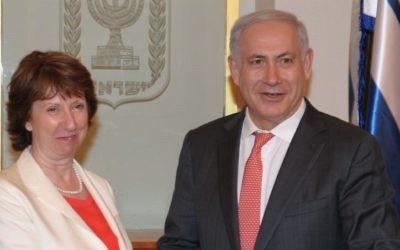 Le Premier ministre Benjamin Netanyahu avec la chef de la diplomatie Catherine Ashton lors d'une visite à Jérusalem en 2011 (Crédit: Moshe Milner/GPO/Flash90)
