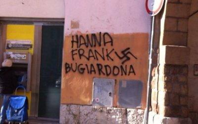 Un graffiti antisémite dans le district de Rome, 25 janvier 2014. (Crédit : Yuri Bugli/Facebook)