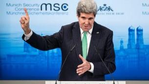 Le secrétaire d'Etat américain John Kerry, le 1er février 2014 à Munich (Crédit : Pool/AFP/Brendan Smialowski)