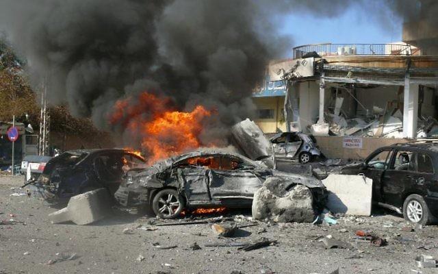 Explosion à Beyrouth, le 19 février 2014 au Liban (Crédit : AFP)