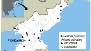 Carte de localisation des camps de prisonniers en Corée du Nord (Crédit : AFP K. Tian/J. Jacobsen)