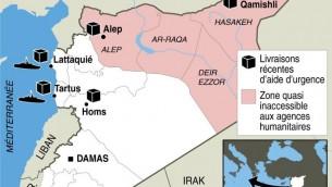 Carte de localisation de distributions récentes d'aide humanitaire et zone inaccessible aux agences humanitaires. (Crédit : AFP/S.Ramis/J.Jacobsen)