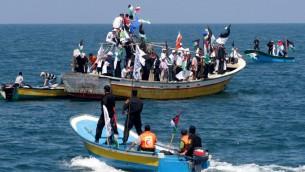 Les patrouilles maritimes du Hamas et des Palestiniens se préparent pour l'arrivée de la flotille, le 30 mai 2010 (Crédit : Abed Rahim Khatib/Flash90)
