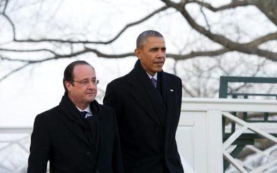 Barack Obama et François Hollande à la résidence de Thomas Jefferson, le 10 février 2014 à Monticello, en Virginie (Crédit : AFP/Alain Jocard)