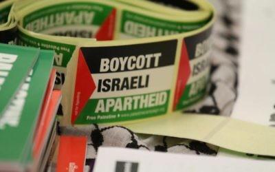 Un appel au boycott d'Israël (Crédit : Tapash Abu Shaim/Palestine Solidarity Campaign UK via Facebook)