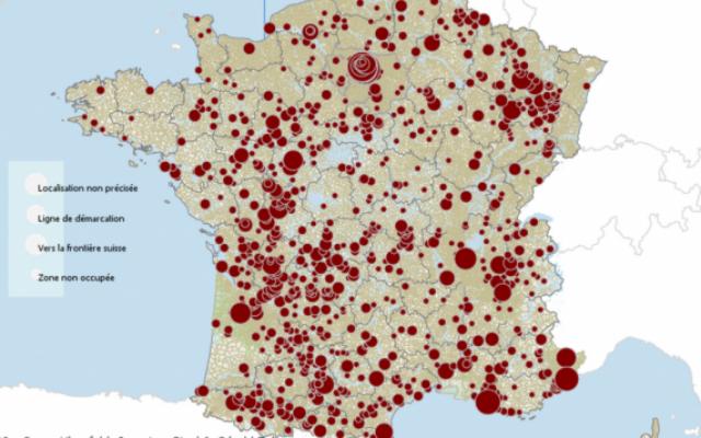 Capture d'écran de la carte mise en ligne (Crédit : http://tetrade.huma-num.fr/Tetrademap_Enfant_France/)
