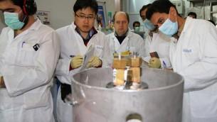 Des inspecteurs de l'AIEA et des techniciens iraniens à la centrale nucléaire de Natanz, le 20 janvier 2014  (Crédit : Irna/AFP/Archives Kazem Ghane)