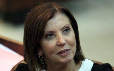 La dirigeante du parti Meretz, la députée Zahava Gal-On, 2011. (Crédit : Abir Sultan/Flash 90)