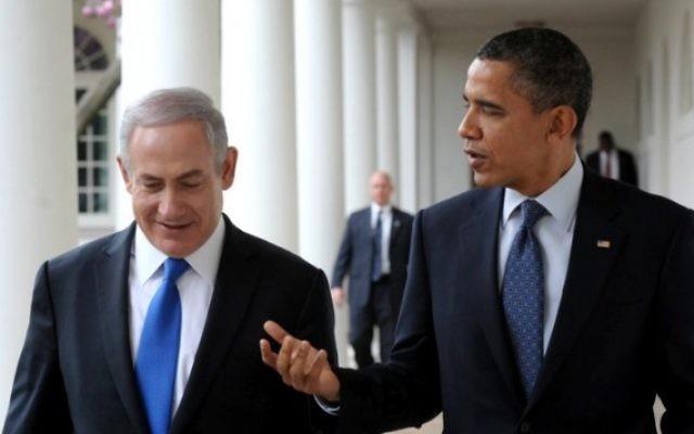 Le Premier ministre Benjamin Netanyahu et le président américain Barack Obama l'année dernière à la Maison Blanche (Crédit : Amos Ben Gershom/GPO/FLASH90)