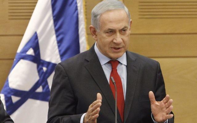 Le Premier ministre israélien Benjamin Netanyahu parlant à une réunion Likud Beitenu à la Knesset -  Jerusalem (Crédit : Miriam Alster/FLASH90)