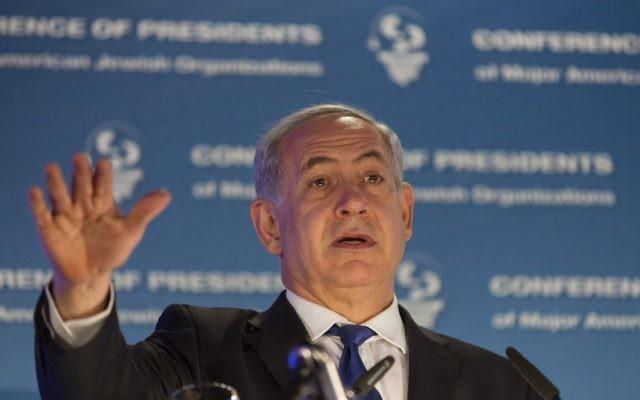 Le Premier ministre israélien Benjamin Netanyahu s'adresse à la  Conférence des présidents des organisations juives américaines majeures à Jérusalem, le 17 février 2014. (Crédit : Flash 90)