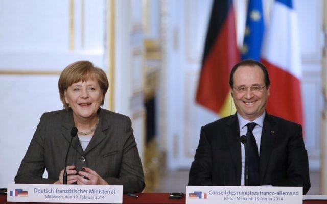 La chancelière allemande, Angela Merkel, et le président français, François Hollande. (Crédit : AFP)