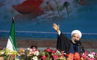 Le président iranien Hassan Rouhani à Téhéran, le 11 février 2014 (Crédit : Le président iranien Hassan Rohani à Téhéran, le 11 février 2014  (Crédit : AFP/Atta Kenare)