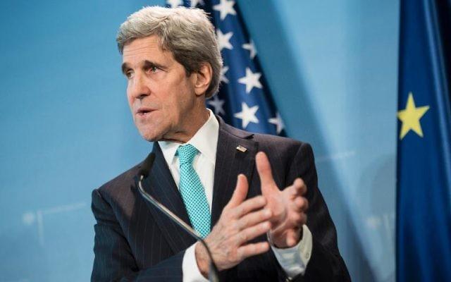 Le secrétaire d'Etat John Kerry le 31 janvier 2014 à Berlin (Crédit : AFP/Archives Brendan Smialowski)
