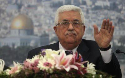 Mahmoud Abbas, président de l'Autorité palestinienne (Crédit : Issam Rimawi/Flash90)
