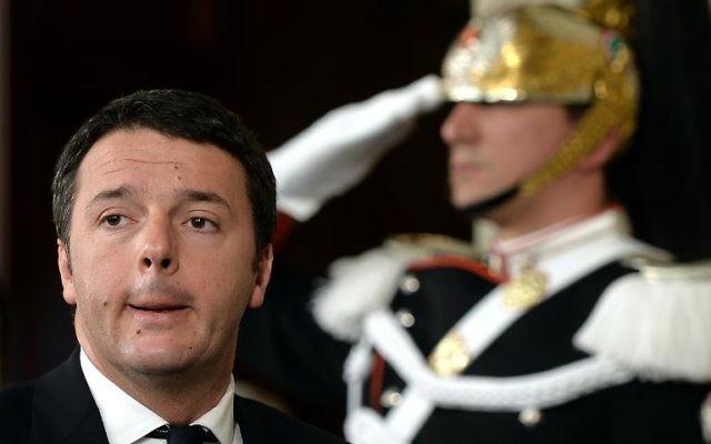 Matteo Renzi, Premier ministre d'Italie, le 17 février 2014 au Palais Quirinal, à Rome (Crédit : AFP Filippo Monteforte)